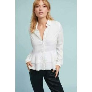 Cloth & Stone Anthro Tiered Fringe Buttondown Top